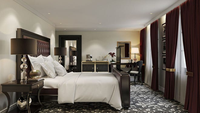 Artist's renderings of a guest room for the Hotel Retlaw.