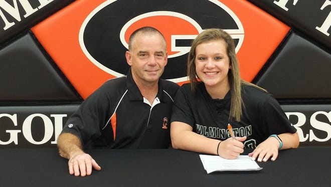 Gibsonburg's Abby Ruth continues her softball career at Wilmington College. She's joined by Golden Bears coach Marty Brown.