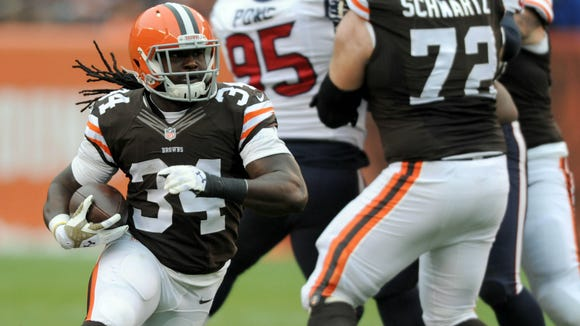 Former Alabama State star Isaiah Crowell leads the Cleveland Browns in rushing touchdowns as a rookie this season with five.