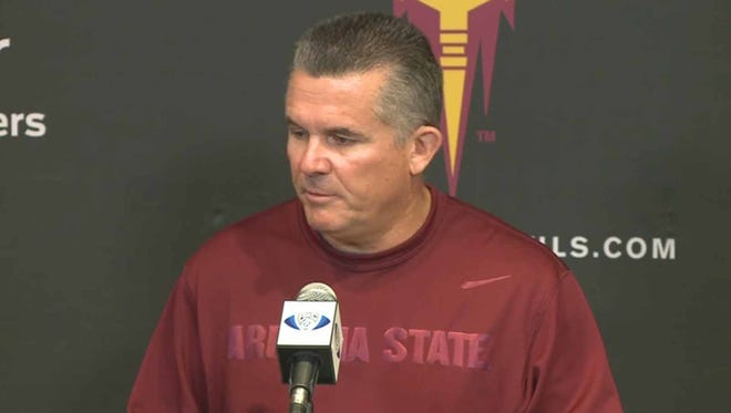 ASU coach Todd Graham talks to the media on Monday, Nov. 17, 2014, about the Sun Devils loss at Oregon State.