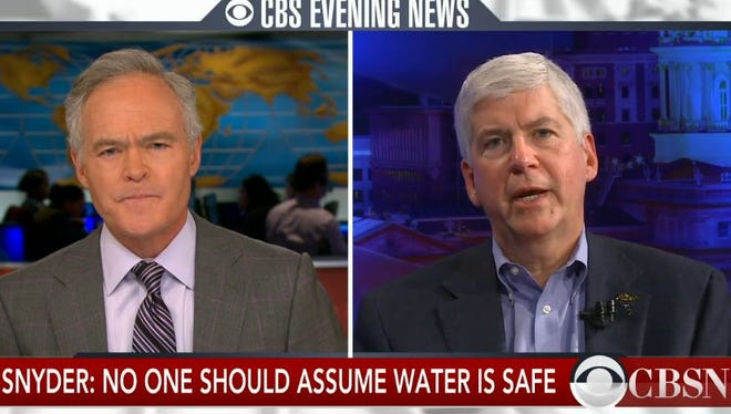 A screenshot of Michigan Gov. Rick Snyder talking to CBS Evening News' Scott Pelley about the Flint water crisis Wednesday.