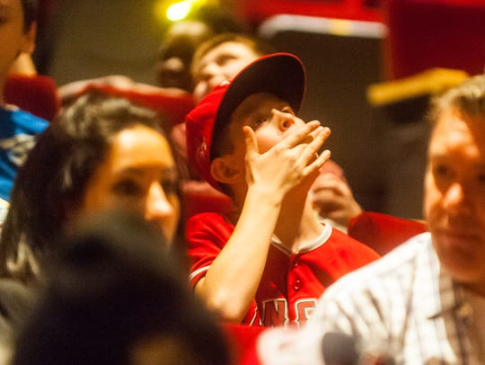 A young Mike Trout fan awaits the showing of 'Mike