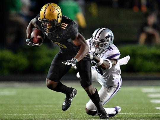 Vanderbilt wide receiver Trent Sherfield (10) slips