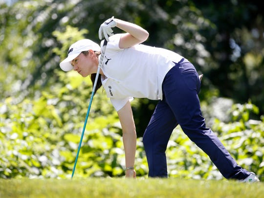 Leona Maguire watches her tee shot on the 11th hole during Wednesday afternoon's Pro-Am at Brook-Lea Country Club.