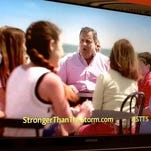 """Gov. Chris Christie and his family appear in a TV spot for the state's """"??Stronger Than the Storm""""? campaign."""