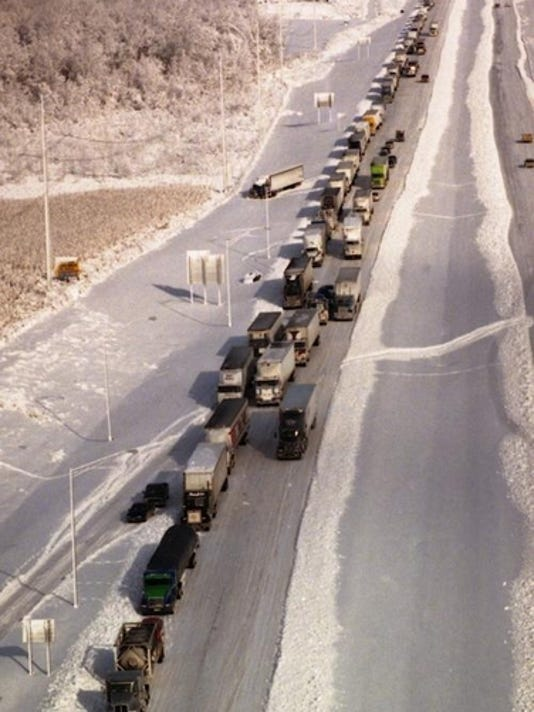 Tractor-trailer trucks were stalled along Interstate-65 near the Brooks exit in Bullitt County yesterday.