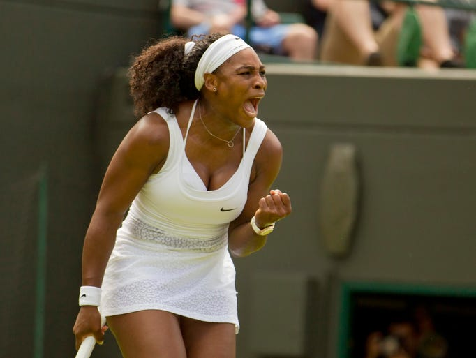 June 29, 2015: Serena Williams reacts during her match