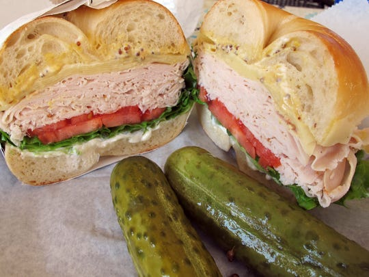 A turkey and Swiss sandwich on a bagel at the new Brooklyn Dough With A Hole at 935 Third Ave. N. in Naples.