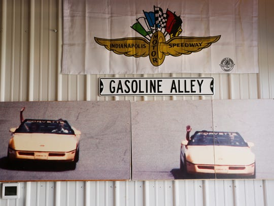 A variety of Indy 500 and Corvette memorabilia decorate the garage of Tom Hetrick Wednesday, May 16, 2018, near West Lebanon.