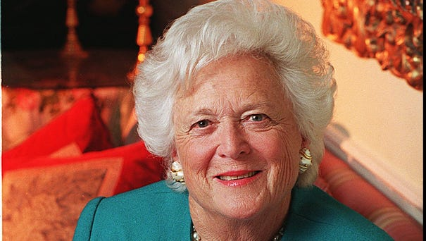 Portrait of former first lady Barbara Bush in...