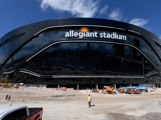 LAS VEGAS, NEVADA - MARCH 17:  Construction continues at Allegiant Stadium, the USD 2 billion, glass-domed future home of the Las Vegas Raiders on March 17, 2020 in Las Vegas, Nevada. The Raiders and the UNLV Rebels football teams are scheduled to begin play at the 65,000-seat facility in their 2020 seasons.  (Photo by Ethan Miller/Getty Images) ORG XMIT: 775497209 ORIG FILE ID: 1213052709