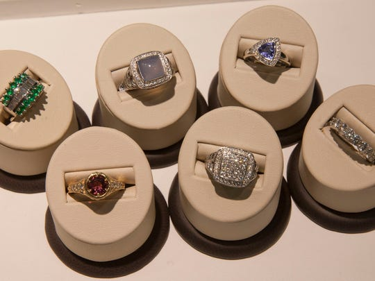Some of the rings Simone's Jewelry owner Brian McLean has personally designed.