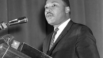 Dr. Martin Luther King Jr. speaks in Milwaukee at the Milwaukee Auditorium (now the Milwaukee Theatre) in January, 1964.