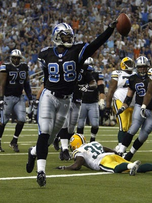 Detroit's Mike Williams scores his first NFL touchdown against Green Bay on Sept. 11, 2005, at Ford Field in Detroit.