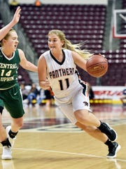 Central York's Nikson Valencik drives against Central Dauphin in the first half of the PIAA District 3 Class 6A girls' basketball championship game Wednesday, Feb. 28, 2018, at the Giant Center.