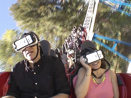 Riding the New Revolution, a VR coaster, at Six Flags