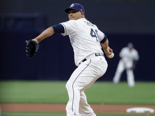 Jhoulys Chacin went 13-10 with a 3.89 ERA in 32 starts for the San Diego Padres in 2017.