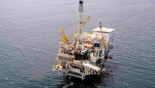 """FILE - In this photo taken Friday, May 1, 2009, offshore oil drilling platform """"Gail,"""" operated by Venoco, Inc., is seen off the coast of California near Santa Barbara."""