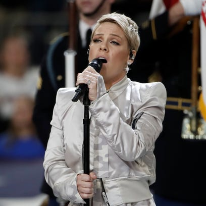 Singer Pink, performing at the Super Bowl on Feb. 4,