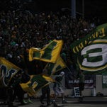 St. Edward High School flags at football game