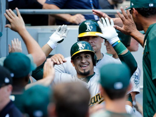 Oakland Athletics' Franklin Barreto celebrates his two-run home run off Chicago White Sox starting pitcher James Shields, also scoring Bruce Maxwell, during the third inning of a baseball game Saturday, June 24, 2017, in Chicago. (AP Photo/Charles Rex Arbogast)