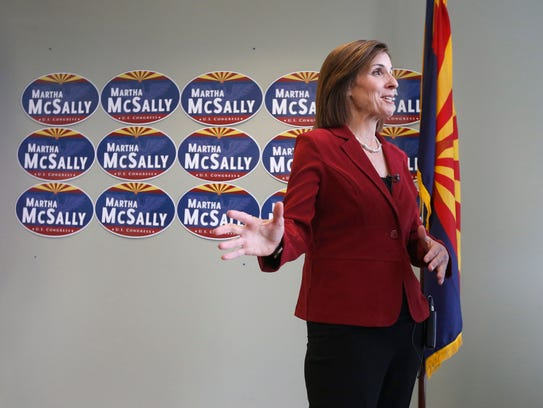 Martha McSally speaks during a television interview