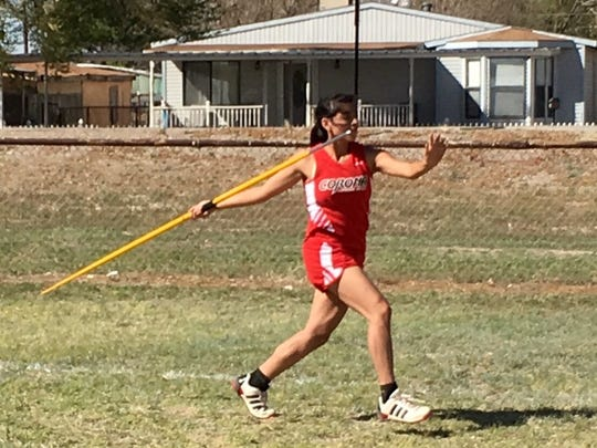 Corona's junior Payton Dunsworth throws the javelin at the Alfalfa Capital Relays in Hagerman. March 22.
