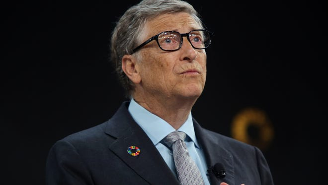 Bill Gates speaks ahead of former U.S. President Barack Obama at the Gates Foundation Inaugural Goalkeepers event on September 20, 2017 in New York City.