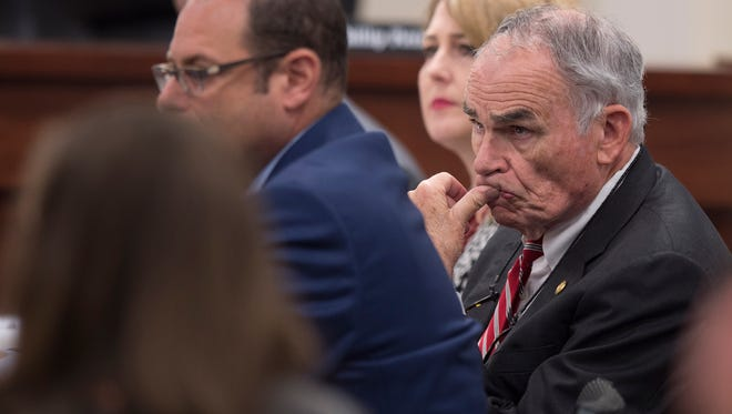 Gov. Robert Bentley's lead attorney David Byrne looks  during a committee meeting on the investigation into the possible impeachment of Governor Robert Bentley on Tuesday, Sept. 27, 2016, in Montgomery, Ala.