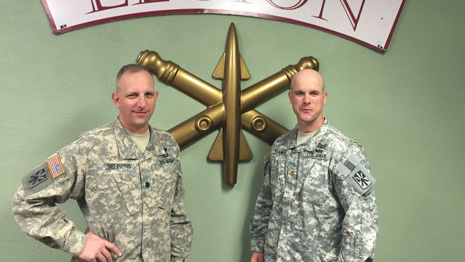 Lt. Col. Tony Behrens, left, and Maj. Mike Kramer with the 3rd Battalion, 43rd Air Defense Artillery Regiment.