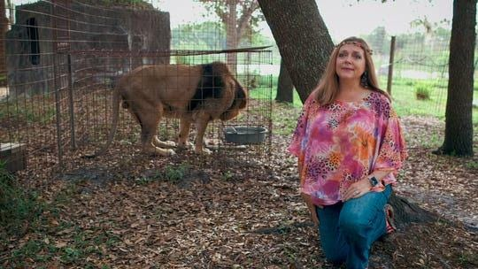 Carole Baskin with one of her rescue lions in a scene from the Netflix documentary 'Tiger King.'