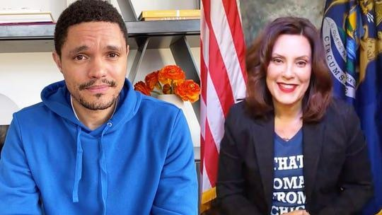 Trevor Noah, left, interviews Michigan Gov. Gretchen Whitmer for an April 1 episode of his Comedy Central show.