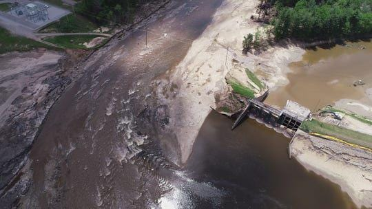 The area where the Edenville dam used to be until it failed sending floodwaters through the area to as far south as Midland, devastating towns along the way.