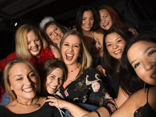 Group of women partying in limo