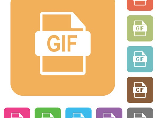 GIF file format rounded square flat icons
