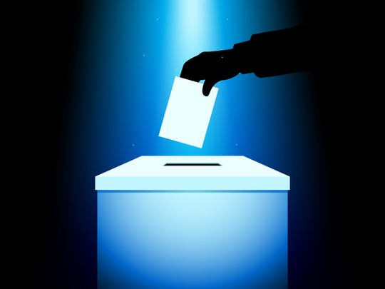 Illustration of a voting box under blue light, hand silhouette putting voting paper in the ballot box