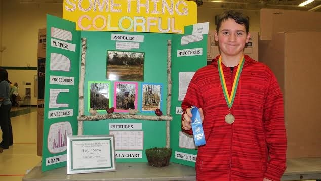 Connor Green, an eighth-grader, won Best in Show with his Behavior and Social Science project at Pittsgrove Township Middle School's science fair.