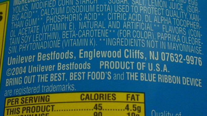 Detail of Best Foods Light Mayonnaise label.