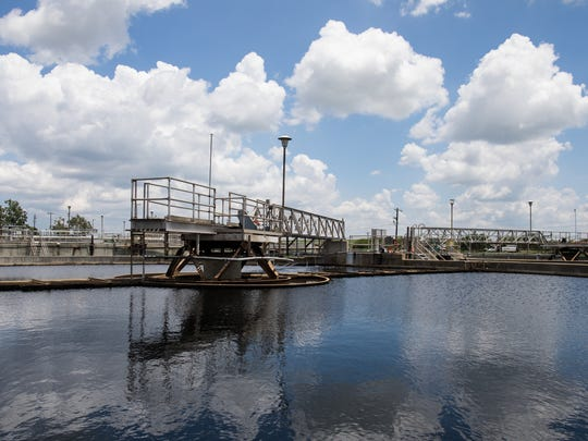 Greenwood Wastewater Treatment Plant's primary clarifiers seen during a a tour on Tuesday, June 6, 2017.