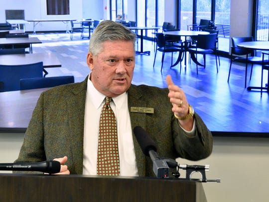 Bill Freeman of the Freeman Webb Company speaks at Old Hickory Towers during a ribbon cutting in Nashville on Friday, Feb. 23, 2018. He announced he will not run for Nashville mayor in 2019.