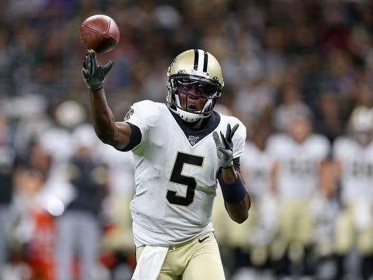 Aug 9, 2019; New Orleans, LA, USA; New Orleans Saints quarterback Teddy Bridgewater (5) makes a throw in the first quarter against the Minnesota Vikings at the Mercedes-Benz Superdome. Mandatory Credit: Chuck Cook-USA TODAY Sports