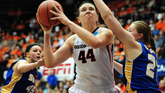 Oregon State center Ruth Hamblin puts up a shot against South Dakota State during the first round of the NCAA Women's Basketball tournament at Gill Coliseum on March 20, 2015. Hamblin was named first team all-Pac-12 and the conference's defensive player of the year.