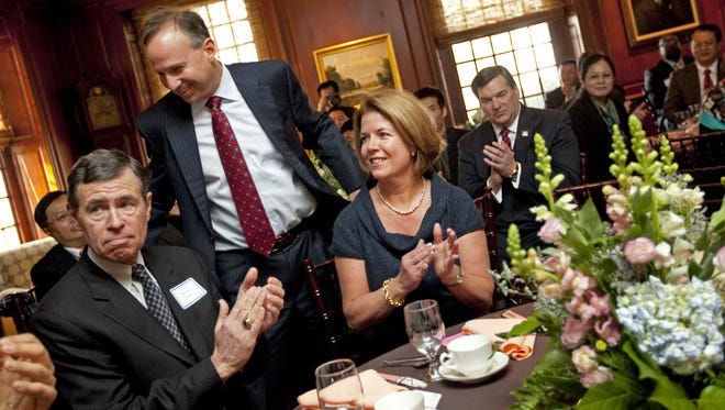 John Riley, seen here at a 2011 event with former Gov. Jack Markell, recently was hired as interim CEO of the Delaware Prosperity Partnership, a new public-private entity overseeing the state's economic development efforts.
