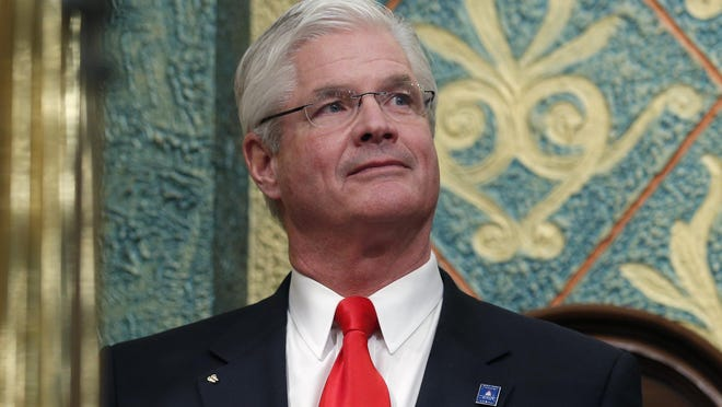 In this Feb. 12, 2019 file photo, state Senate Majority Leader Mike Shirkey, R-Clarklake, watches during the State of the State address at the state Capitol in Lansing. A company owned by Shirkey and one run by U.S. Senate candidate John James each received between $1 million and $2 million from a federal rescue program that was created to preserve jobs during the coronavirus pandemic.