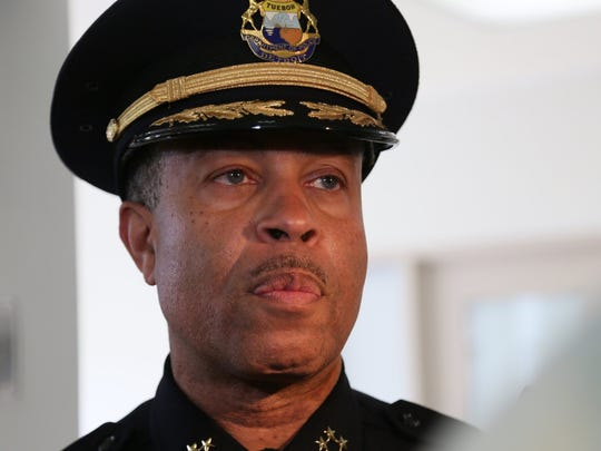 Detroit Police Department Chief James Craig answers questions by the press in 2013 at the opening of the Detroit Detention Center.