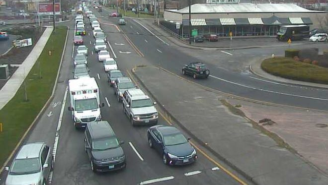 Traffic was backed up into West Salem Tuesday morning.