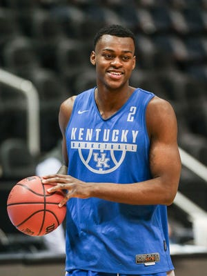 Kentucky's Jarred Vanderbilt was dressed Wednesday for practice before Thursday's game against Kansas State in the Sweet Sixteen. UK is 9-0 against K-State in the series history. March 21, 2018