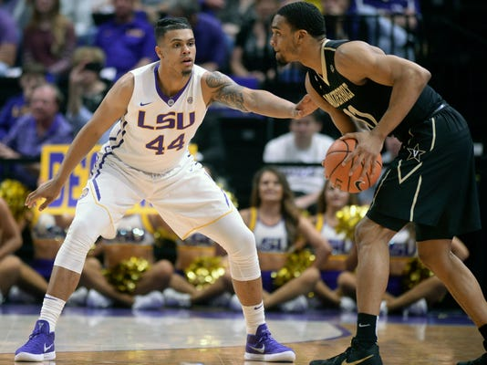 LSU forward Wayde Sims (44) defends against Vanderbilt forward Jeff Roberson (11) during an NCAA college basketball game, Tuesday, Feb. 20, 2018 in Baton Rouge, La. (Hilary Scheinuk/The Advocate via AP)