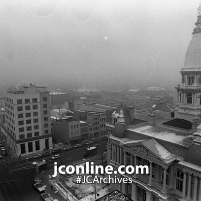 The Tippecanoe County Courthouse dome is clearly visible
