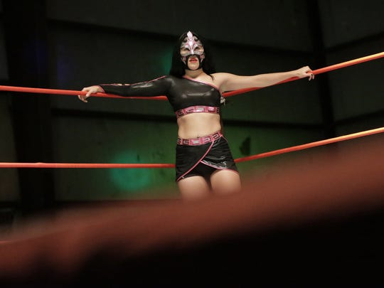 El Paso Lucha Libre star Delilah brings her high-flying talent into the ring in Northeast El Paso, usually battling men. See video and more photos at elpasotimes.com.